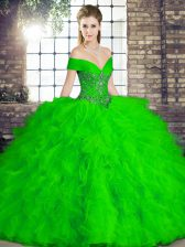 Noble Green Sleeveless Floor Length Beading and Ruffles Lace Up Quinceanera Gowns