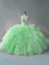 Ball Gowns Sweetheart Sleeveless Organza Lace Up Beading and Ruffles Ball Gown Prom Dress