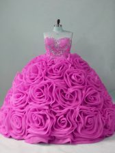 Deluxe Lilac Ball Gowns Fabric With Rolling Flowers Sweetheart Sleeveless Beading Lace Up Sweet 16 Dresses Sweep Train