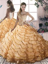Fantastic Sleeveless Brush Train Lace Up Beading and Ruffled Layers 15 Quinceanera Dress