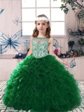 Dark Green Sleeveless Organza Lace Up Pageant Gowns For Girls for Party and Military Ball and Wedding Party