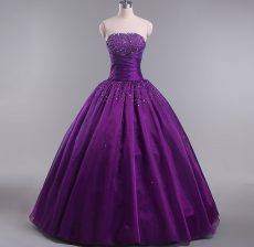 Beautiful Eggplant Purple Strapless Neckline Beading and Ruching Sweet 16 Quinceanera Dress Sleeveless Lace Up