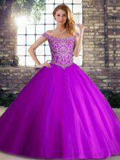 High End Purple Sleeveless Brush Train Beading 15 Quinceanera Dress