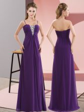 Purple Zipper Beading Sleeveless Floor Length
