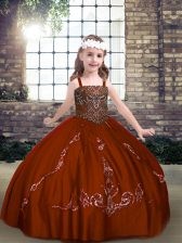 Affordable Rust Red Sleeveless Beading Floor Length Kids Pageant Dress
