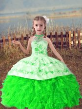 Sweet Sleeveless Organza Floor Length Lace Up Kids Pageant Dress in Green with Beading and Embroidery and Ruffles