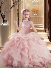 Lovely Pink Scoop Lace Up Beading and Ruffles Winning Pageant Gowns Sleeveless