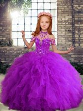 Hot Selling Tulle Sleeveless Floor Length Pageant Dress Toddler and Beading and Ruffles