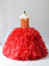 Red Sweetheart Neckline Beading and Ruffles Quince Ball Gowns Sleeveless Lace Up