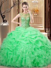 Lace Up Scoop Beading and Ruffles and Pick Ups 15th Birthday Dress Organza Sleeveless