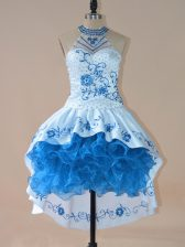 Vintage Blue Satin and Organza Lace Up Halter Top Sleeveless High Low Prom Dress Embroidery and Ruffles