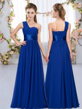 Royal Blue Empire One Shoulder Sleeveless Chiffon Floor Length Lace Up Belt Quinceanera Court Dresses