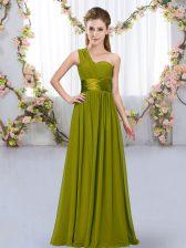 Fitting Olive Green Sleeveless Belt Floor Length Quinceanera Court Dresses