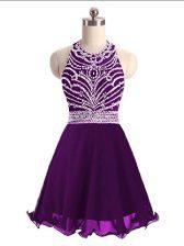 Captivating Eggplant Purple Halter Top Neckline Beading Dress for Prom Sleeveless Lace Up