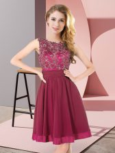 Ideal Purple Chiffon Backless Scoop Sleeveless Mini Length Quinceanera Court of Honor Dress Beading and Appliques