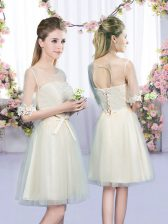 Fancy Mini Length Empire Half Sleeves Champagne Quinceanera Dama Dress Lace Up