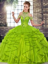 Inexpensive Floor Length Ball Gowns Sleeveless Olive Green Vestidos de Quinceanera Lace Up