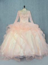 Peach Ball Gowns Tulle Scoop Long Sleeves Beading and Ruffles Floor Length Lace Up 15th Birthday Dress