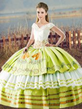 Beauteous Floor Length Lace Up Quinceanera Dress Yellow Green for Sweet 16 and Quinceanera with Embroidery and Ruffled Layers
