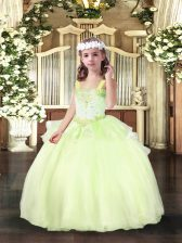 Yellow Green Straps Lace Up Beading Little Girl Pageant Dress Sleeveless