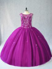 Purple Ball Gowns Scoop Sleeveless Tulle Floor Length Lace Up Beading 15 Quinceanera Dress
