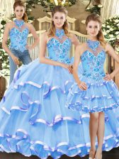 Blue Three Pieces Embroidery and Ruffled Layers Quinceanera Gown Lace Up Organza Sleeveless Floor Length