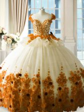Unique Zipper Quinceanera Gowns Brown for Sweet 16 and Quinceanera with Hand Made Flower Brush Train