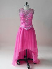 Hot Pink Homecoming Dress Prom and Party and Military Ball with Beading Scoop Sleeveless