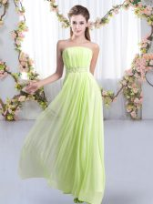On Sale Yellow Green Quinceanera Dama Dress Strapless Sleeveless Sweep Train Lace Up