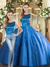 Sleeveless Lace Up Floor Length Appliques Sweet 16 Dress