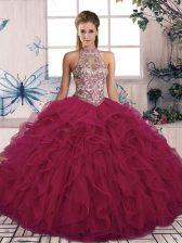 Floor Length Burgundy Sweet 16 Dress Tulle Sleeveless Beading and Ruffles