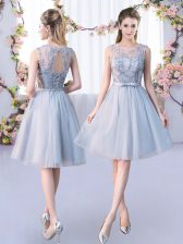 Knee Length Grey Quinceanera Dama Dress Scoop Sleeveless Lace Up