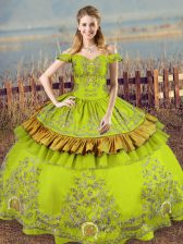 Stylish Embroidery Quinceanera Gown Olive Green Lace Up Sleeveless Floor Length