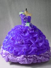 Sleeveless Floor Length Pick Ups and Hand Made Flower Lace Up Sweet 16 Dresses with Purple