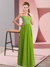 Hot Sale Sweetheart Sleeveless Chiffon Dress for Prom Beading Lace Up