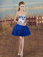 Organza Sweetheart Sleeveless Lace Up Embroidery and Ruffled Layers Evening Dress in Royal Blue