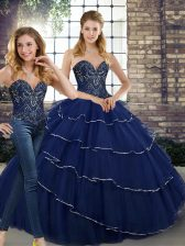 Fitting Navy Blue Sweetheart Neckline Beading and Ruffled Layers 15th Birthday Dress Sleeveless Lace Up