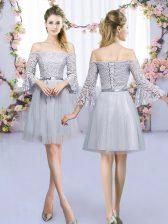 Elegant 3 4 Length Sleeve Lace Up Mini Length Lace and Belt Dama Dress