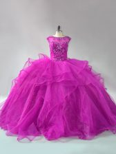 Scoop Long Sleeves Organza Vestidos de Quinceanera Beading and Ruffles Brush Train Lace Up