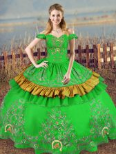 Ideal Embroidery Sweet 16 Dresses Green Lace Up Sleeveless Floor Length