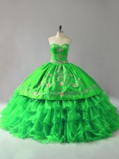 Smart Sweetheart Sleeveless Quinceanera Dresses Floor Length Embroidery and Ruffles Organza