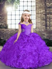 Floor Length Purple Pageant Dress for Teens Fabric With Rolling Flowers Sleeveless Beading