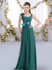 Customized Floor Length Empire Sleeveless Peacock Green Dama Dress for Quinceanera Zipper