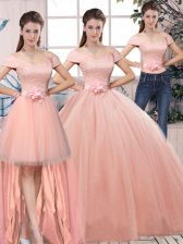 Pink Short Sleeves Lace and Hand Made Flower Floor Length Quince Ball Gowns