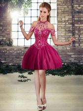 Attractive Fuchsia Ball Gowns Beading Homecoming Dress Lace Up Tulle Sleeveless Mini Length