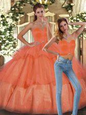 High Class Floor Length Orange Sweet 16 Dress Organza Sleeveless Ruffled Layers