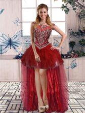 Sophisticated Sleeveless Beading and Ruffles Zipper Evening Dress