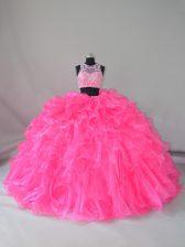 Eye-catching Scoop Sleeveless Court Train Zipper Quinceanera Gown Hot Pink Organza