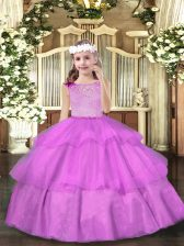 Inexpensive Floor Length Lilac Little Girls Pageant Gowns Organza Sleeveless Beading and Ruffled Layers