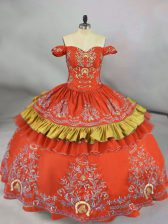 Ball Gowns Sweet 16 Dresses Orange Red Off The Shoulder Satin Sleeveless Floor Length Lace Up